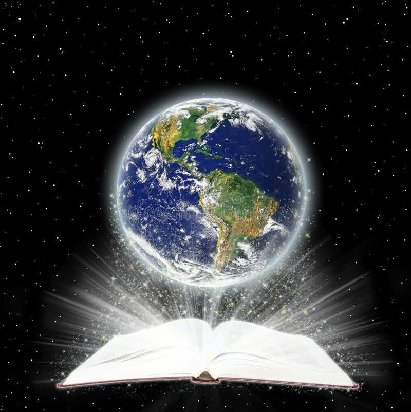 Livre sacré et le globe illustration stock