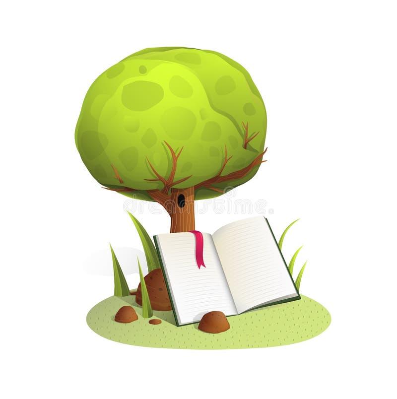 Livre sous l'illustration de vecteur de style d'aquarelle d'arbre illustration stock