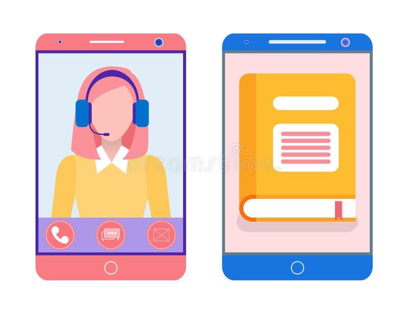 Livre sur le téléphone portable et la Madame futée dans Smartphone illustration stock
