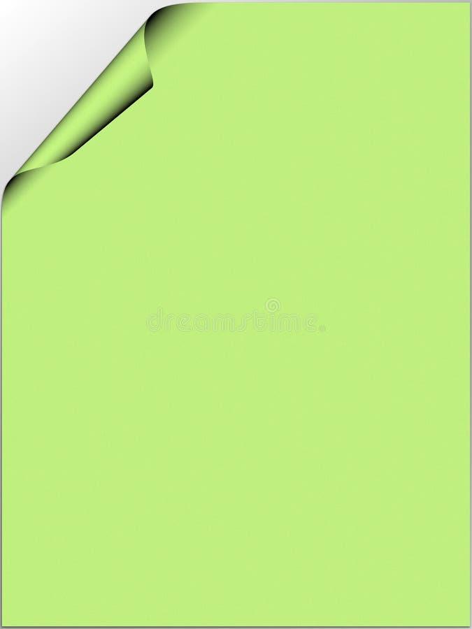 Livre vert avec le coin enroulé illustration de vecteur
