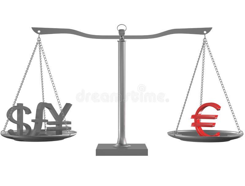 Livre, Yens, dollar et euro tout bien pesé illustration stock