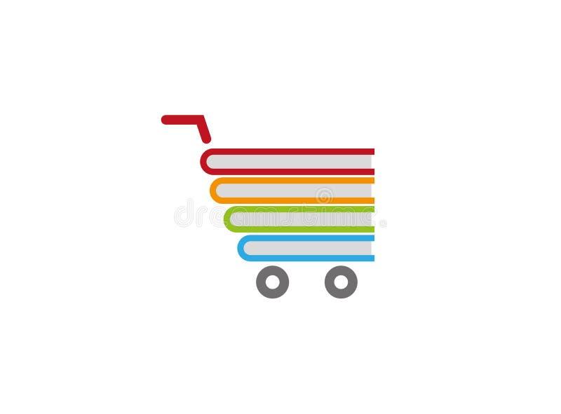 Livres à l'intérieur d'un symbole d'achats de chariot pour la conception de logo illustration libre de droits