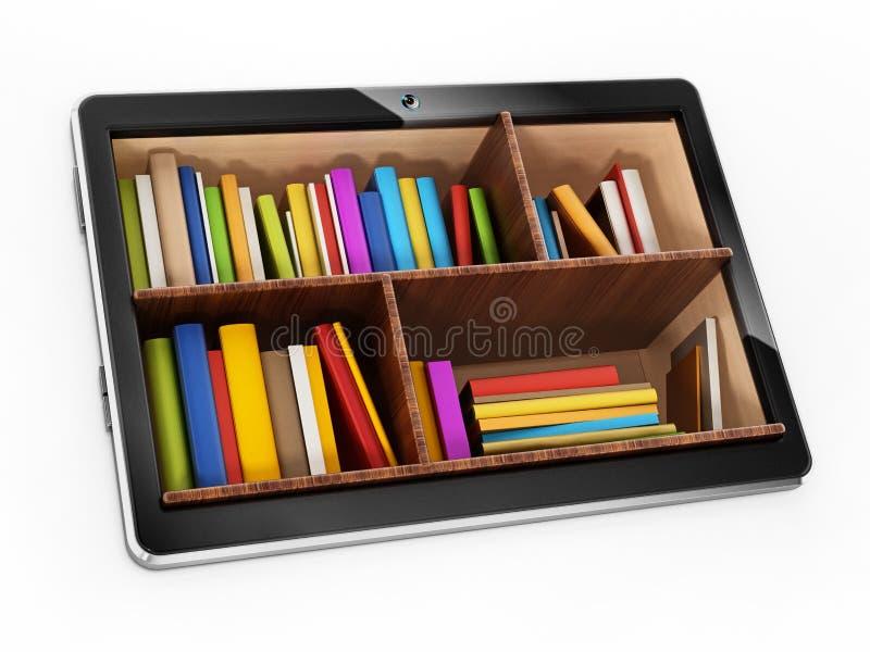 Livres à l'intérieur de tablette générique illustration 3D illustration de vecteur