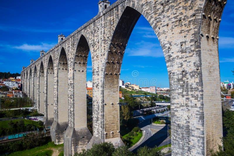 Livres Aguas мост-водовода в Лиссабоне стоковые изображения rf