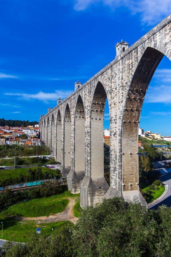 Livres Aguas мост-водовода в Лиссабоне стоковая фотография rf