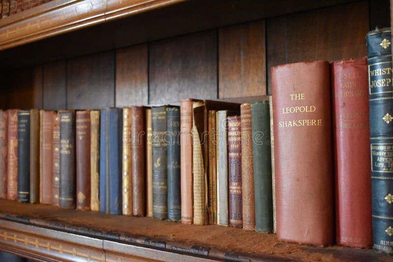 Livres antiques sur une étagère photo libre de droits