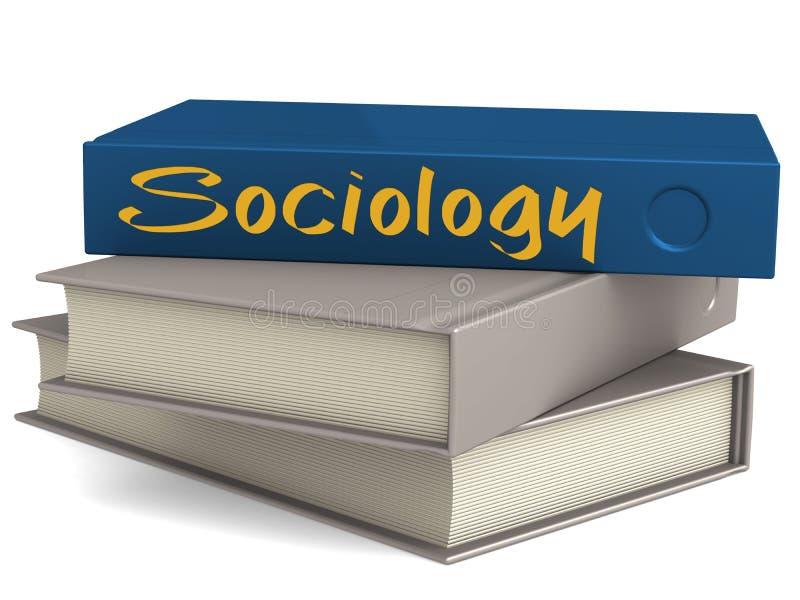 Livres bleus de couverture dure avec le mot de sociologie illustration stock