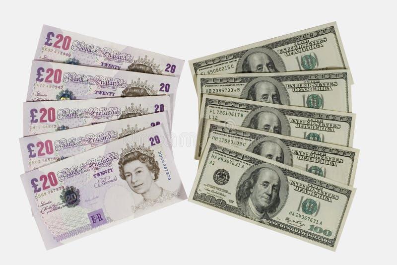 Livres britanniques et dollars photo stock