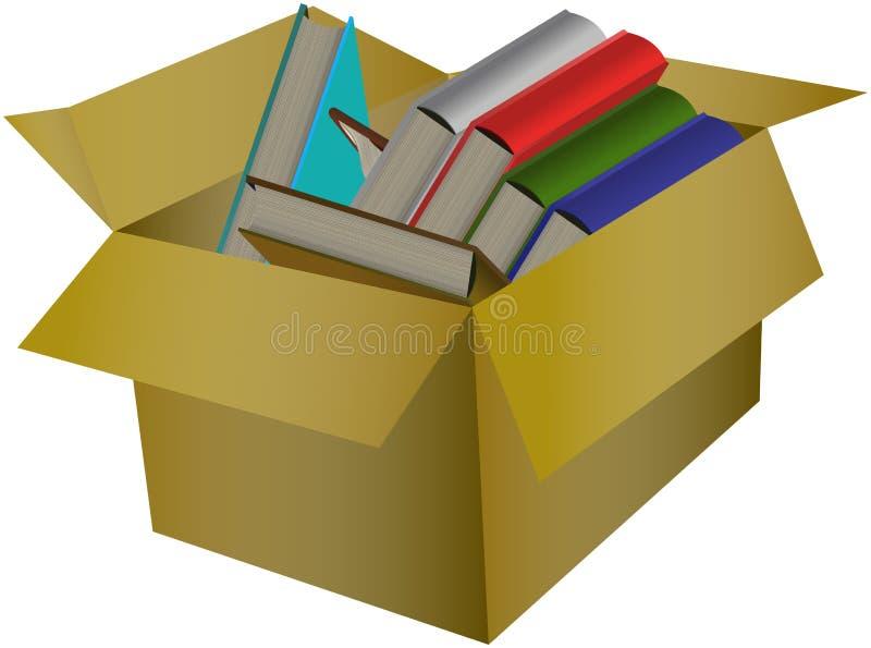 Livres colorés dans la boîte en carton illustration libre de droits