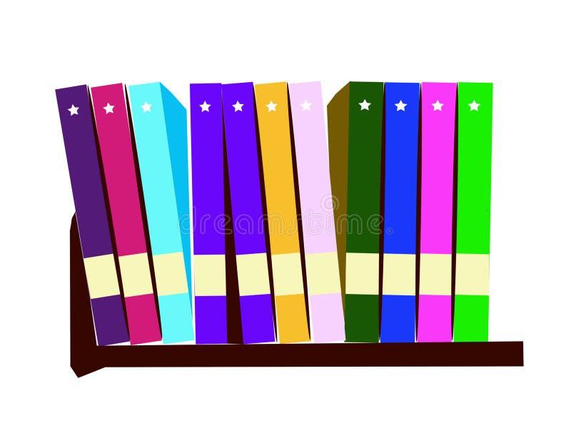 Livres colorés sur l'illustration de vecteur d'étagères Objets pour les décorations, le fond, les textures, le signe, le symbole  illustration libre de droits