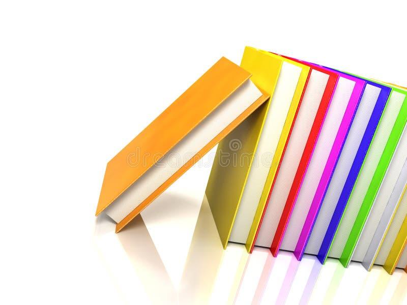 Livres colorés sur le blanc lustré illustration libre de droits