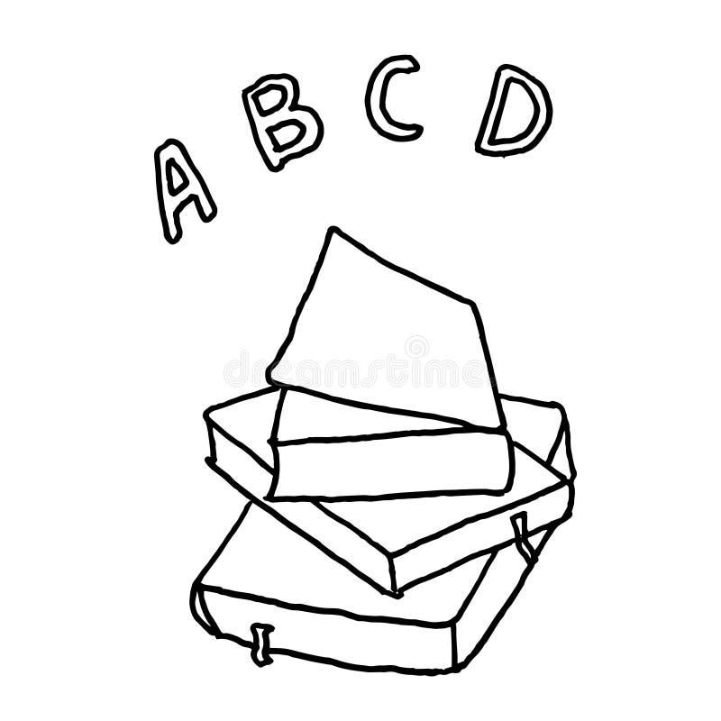 Livres d'école d'ABC Croquis monochrome, dessin de main Contour noir sur le fond blanc Illustration de vecteur illustration stock