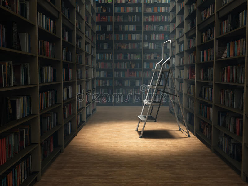 Livres dans la bibliothèque photographie stock libre de droits