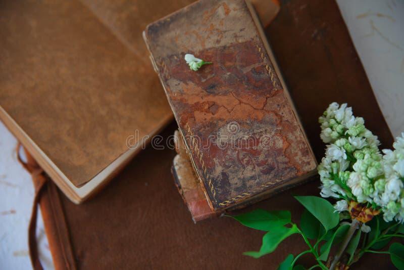 Livres de cru avec les lilas blancs photographie stock libre de droits