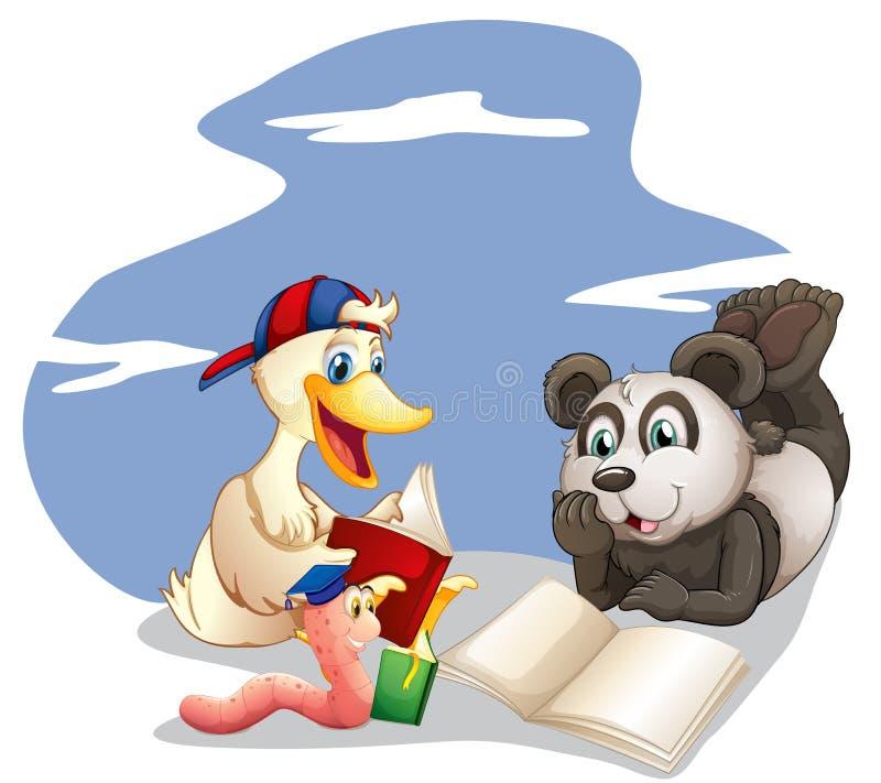 Livres de lecture d'animaux illustration stock