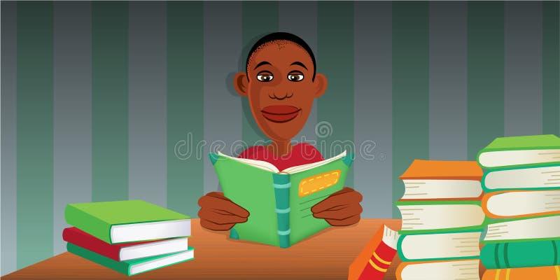 livres de lecture de garçon illustration stock