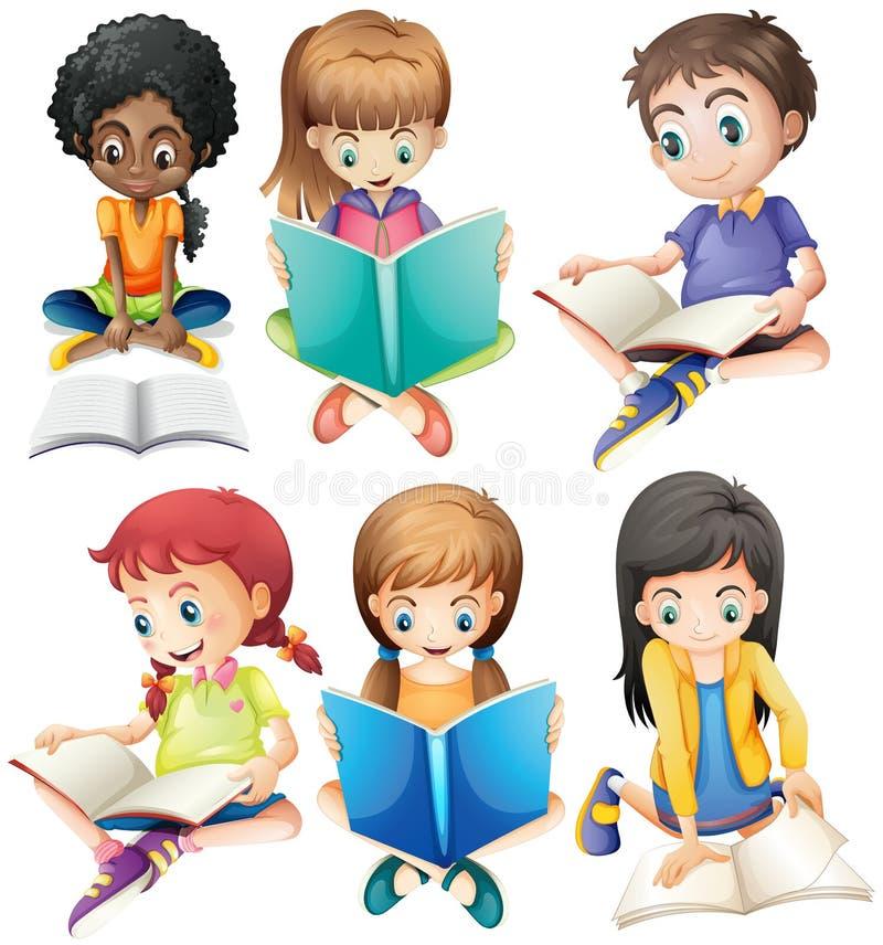 Livres de lecture de garçons et de filles illustration de vecteur