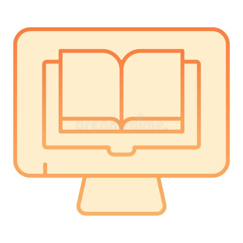 Livres de lecture sur l'icône plate de PC Livre sur les icônes oranges d'ordinateur dans le style plat à la mode Conception de st illustration stock