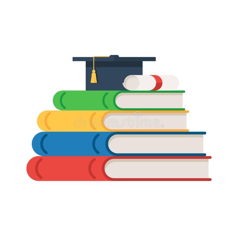 Livres de pile avec le chapeau d'obtention du diplôme illustration de vecteur