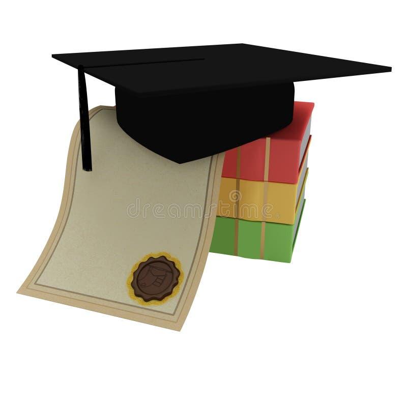 Livres, diplôme, capuchon gradué d'étudiant illustration stock