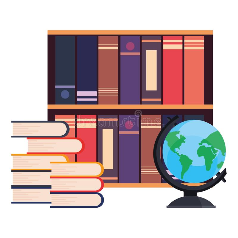 Livres empilés étagère et globe illustration de vecteur