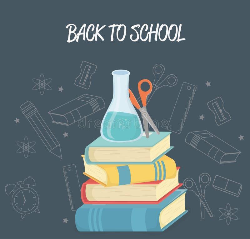 Livres et approvisionnements de pile de nouveau à l'école illustration de vecteur
