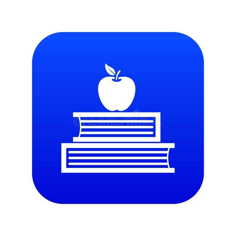 Livres et bleu numérique d'icône de pomme illustration de vecteur