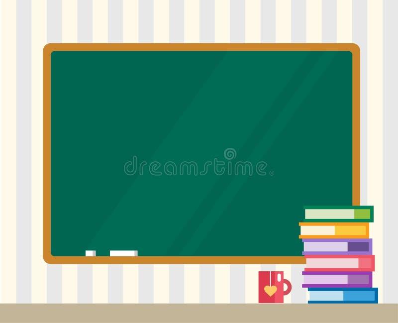 Livres et conseil vert De nouveau à l'école Éducation illustration stock