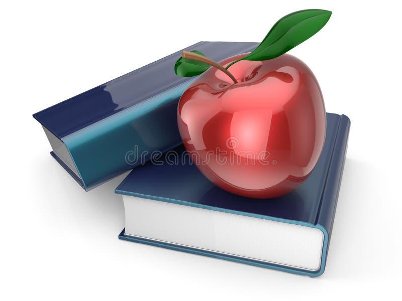 Livres et encyclopédie rouge de manuel de pomme étudiant la sagesse illustration de vecteur