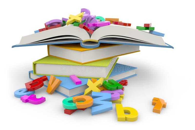 Livres et lettres illustration libre de droits