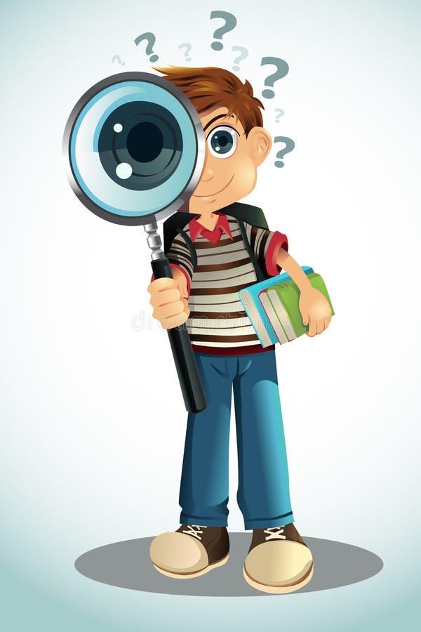 Livres et loupe de fixation d'étudiant illustration libre de droits