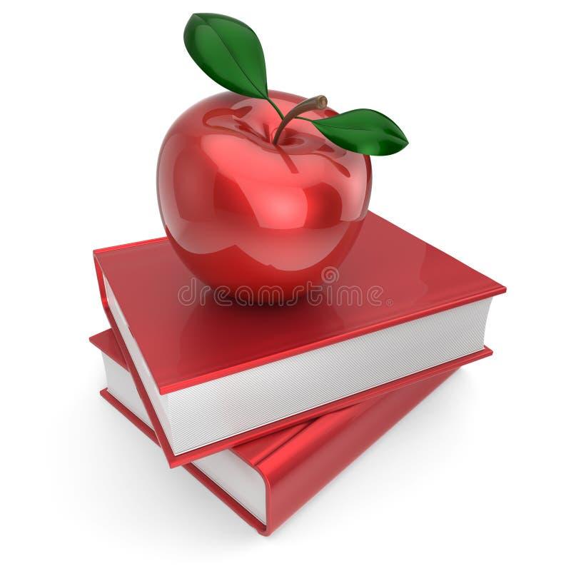 Livres et manuel rouge d'éducation de livre d'école de pomme illustration stock