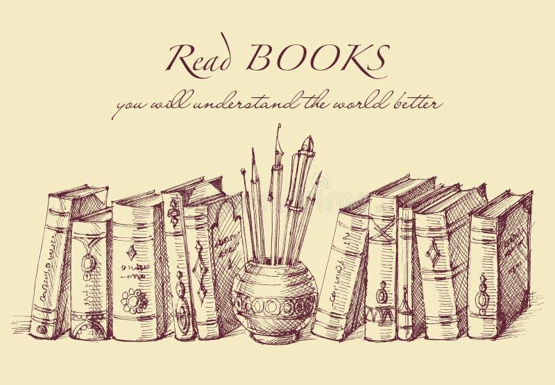 Livres et outils d'écriture dans le style de vintage illustration libre de droits