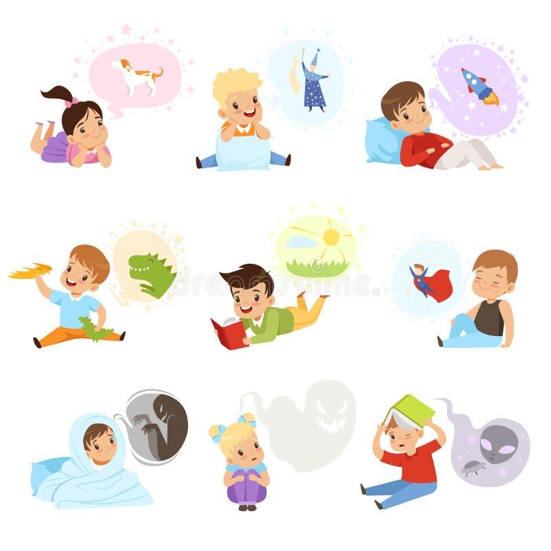 Livres et rêver de lecture d'enfants, imagination d'enfants et illustration de vecteur de concept d'imagination sur un fond blanc illustration de vecteur