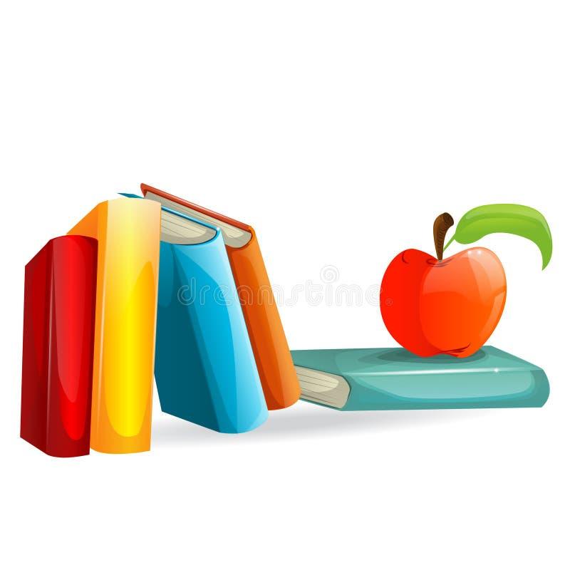 livres et une pomme illustration stock