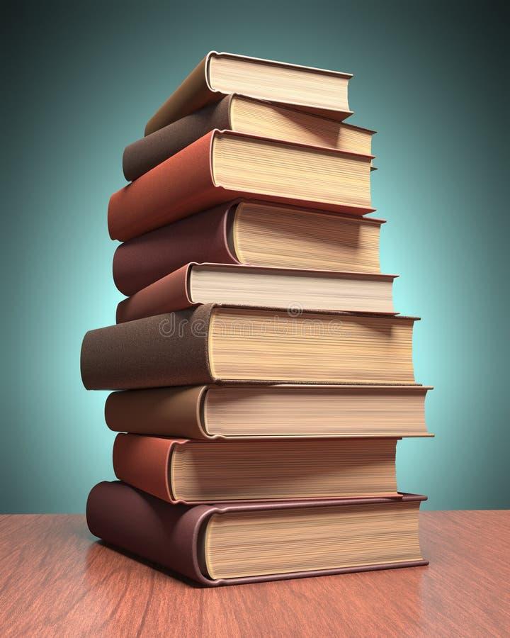 livres noirs de fond d'isolement au-dessus de la table illustration stock