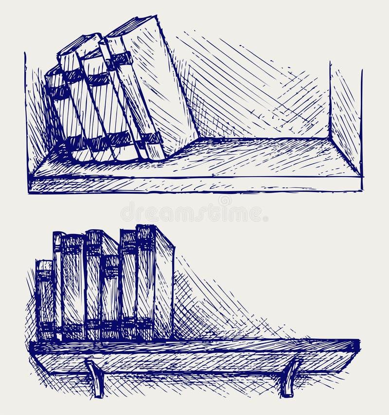 Livres sur l'étagère illustration stock
