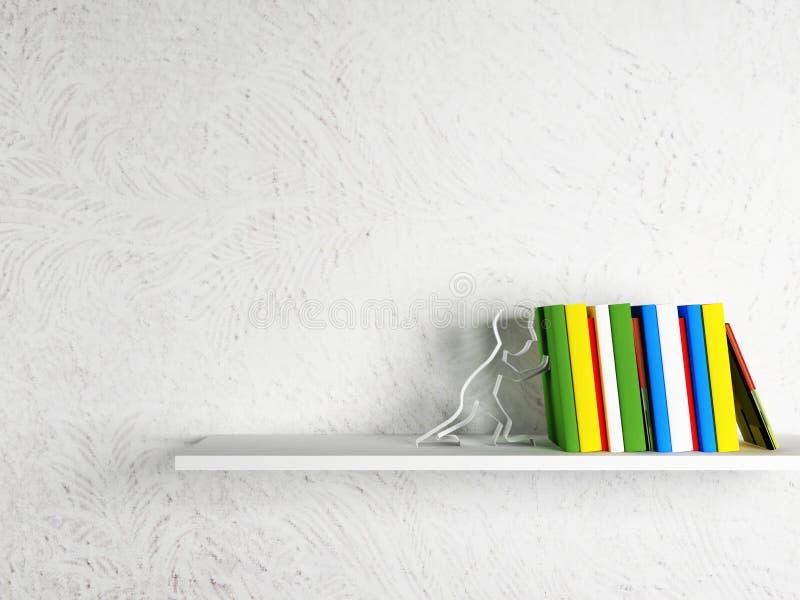 Livres sur l'étagère avec un serre-livres illustration libre de droits
