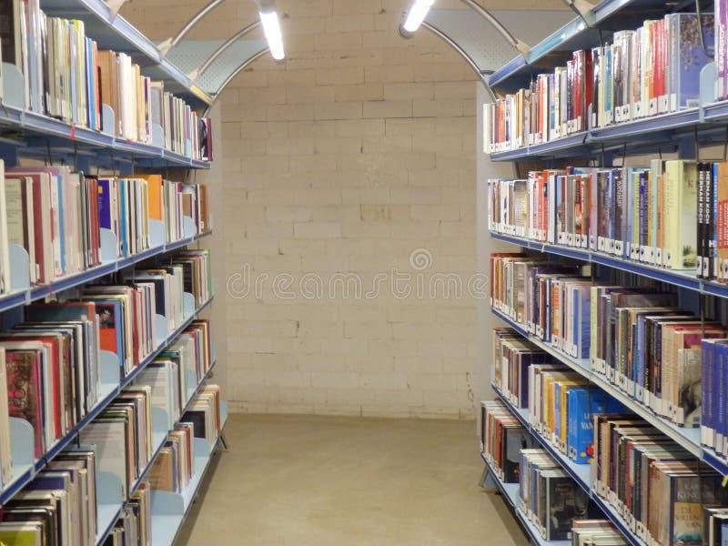 Livres sur une étagère dans la bibliothèque photographie stock