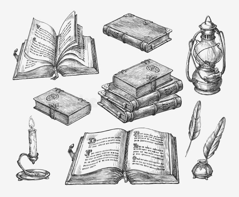 Livres tirés par la main de vintage Littérature de vieille école de croquis Illustration de vecteur illustration stock