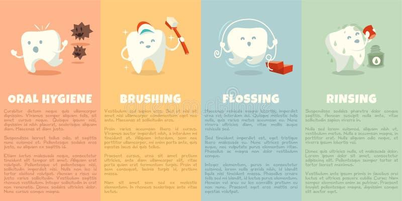 Livret d'hygiène buccale avec la dent mignonne illustration stock