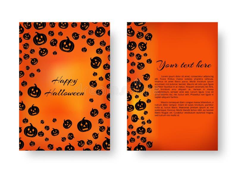 Livret rectangulaire avec des potirons pour Halloween illustration libre de droits