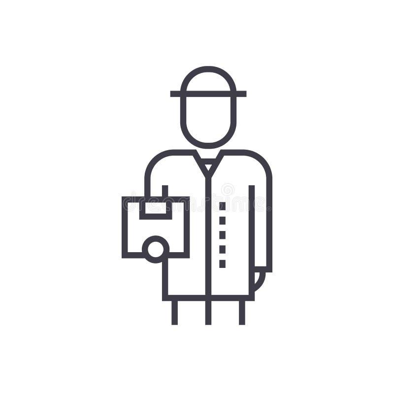 Livreur avec la ligne icône, signe, illustration de vecteur de boîte sur le fond, courses editable illustration de vecteur