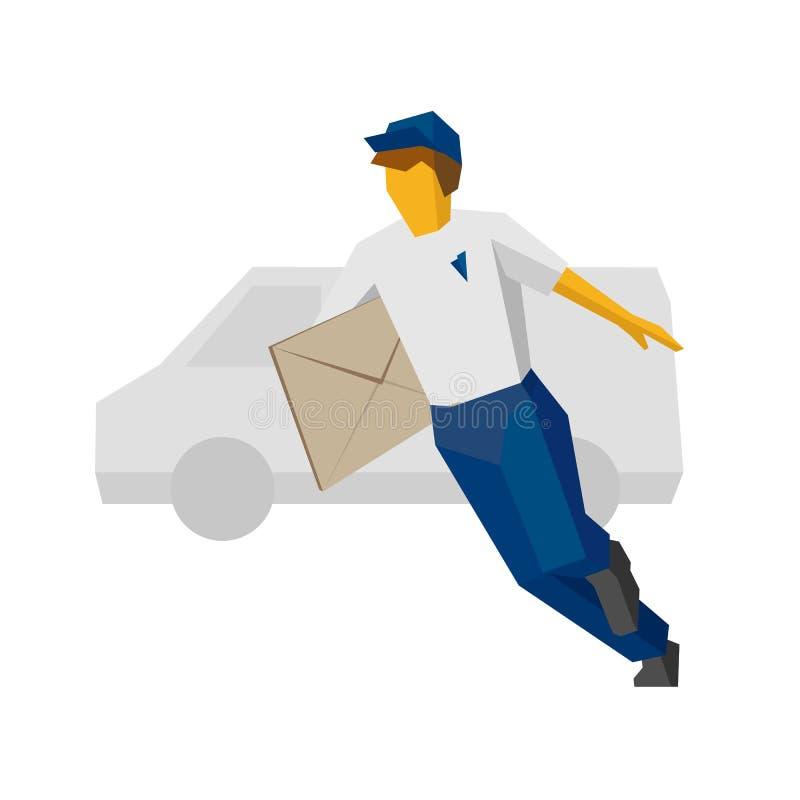 Livreur courant dans le bleu tenant la grande enveloppe postale illustration libre de droits