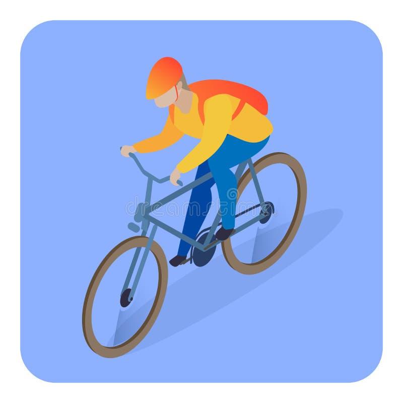 Livreur sur l'illustration isométrique de bicyclette illustration de vecteur
