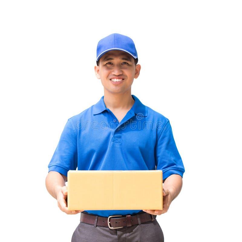 Livreur tenant une boîte de colis images libres de droits