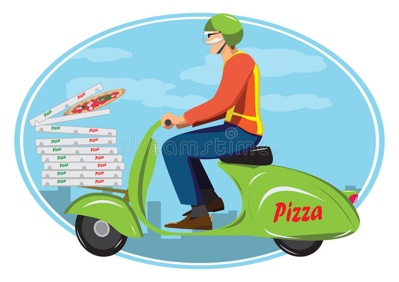 Livrez la pizza illustration de vecteur