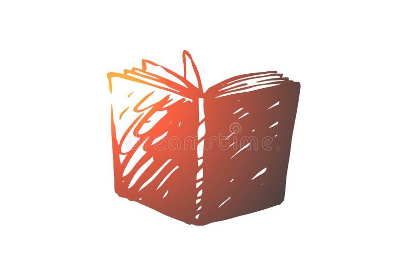 Livro, aberto, biblioteca, educação, conceito da página Vetor isolado tirado mão ilustração do vetor
