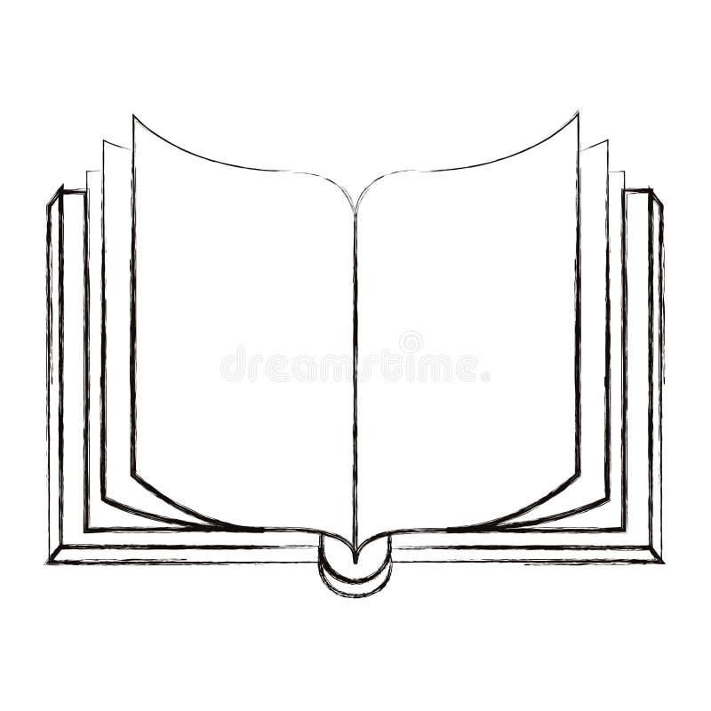 Livro aberto borrado esboço da opinião dianteira da imagem da silhueta ilustração royalty free