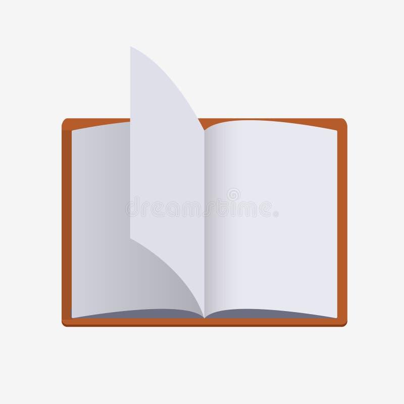 Livro aberto coberto vermelho com vibração das páginas ilustração stock